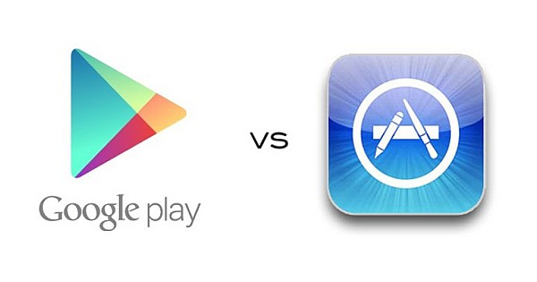 Google Play Store Market vs Apple iTunes - Download Messenger Apps