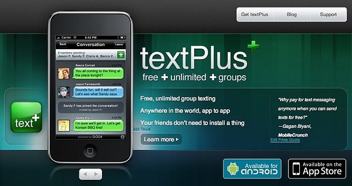 What are the textPlus Messenger App Advantages?