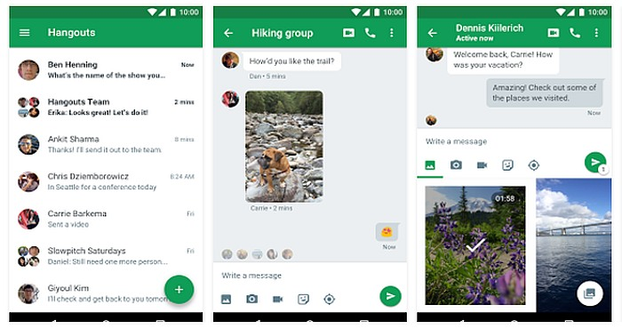Download Google Hangouts and send free SMS