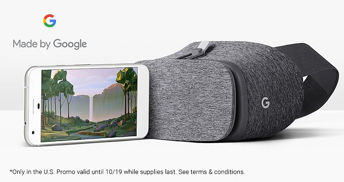 Google Pixel XL with Google Daydream View VR headset