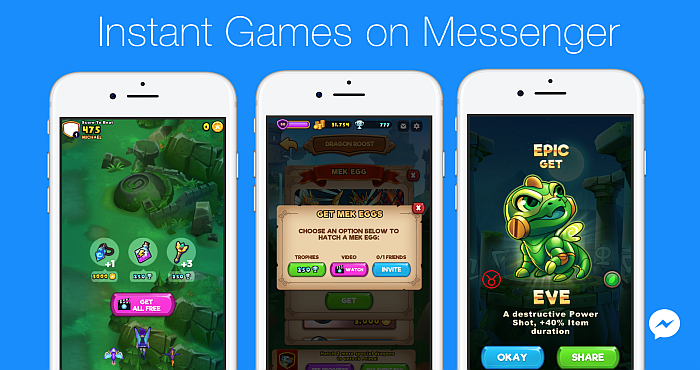 Download Facebook Messenger and the Monetized and in-app-purchases games